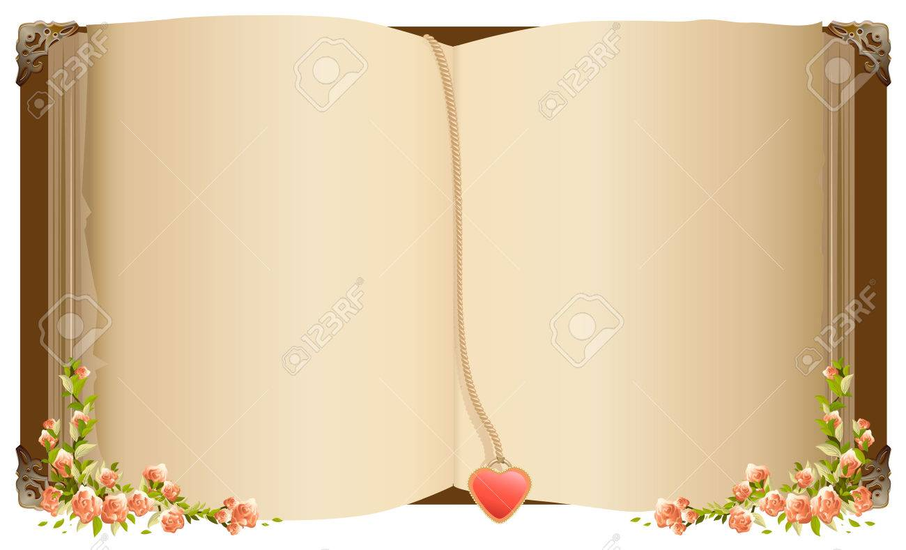 Old open book with bookmark in heart shape. Petro old book decorated with flowers. Isolated on white vector illustration - 51999877
