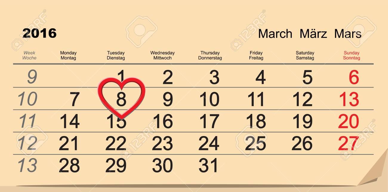 2016 March 8 International Womens Day  Calendar illustration