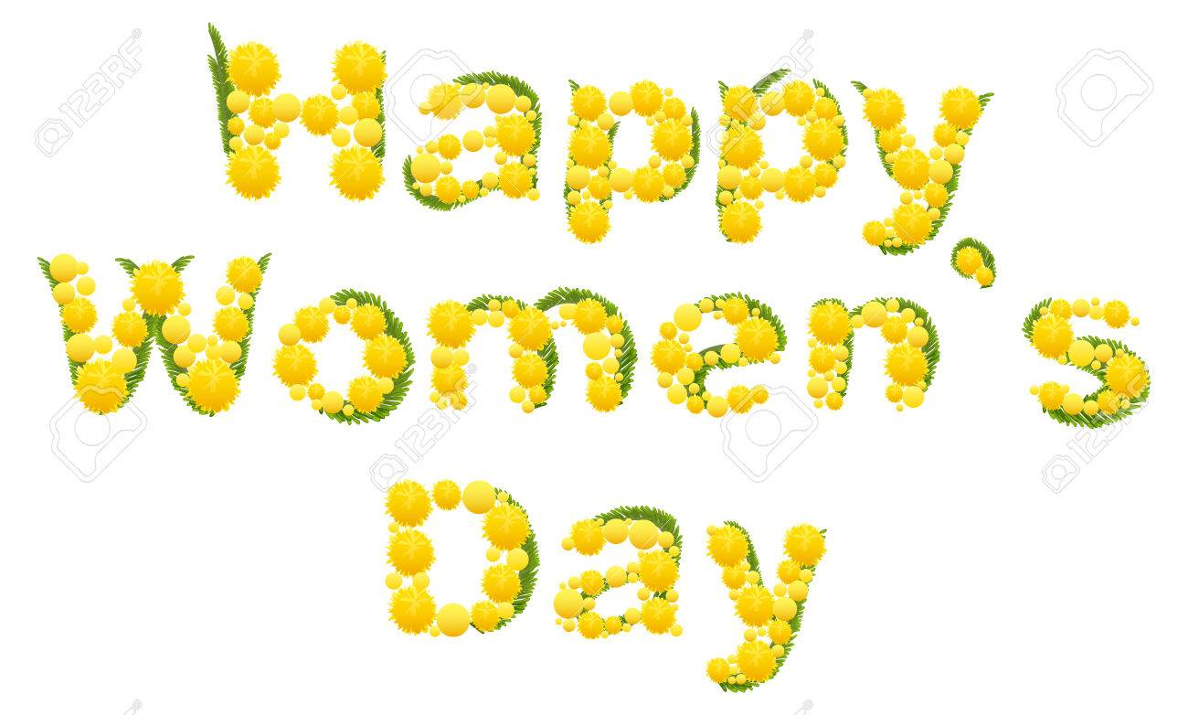 Happy womens day yellow mimosa flower acacia flower symbol yellow mimosa flower acacia flower symbol of womens day lettering biocorpaavc Choice Image