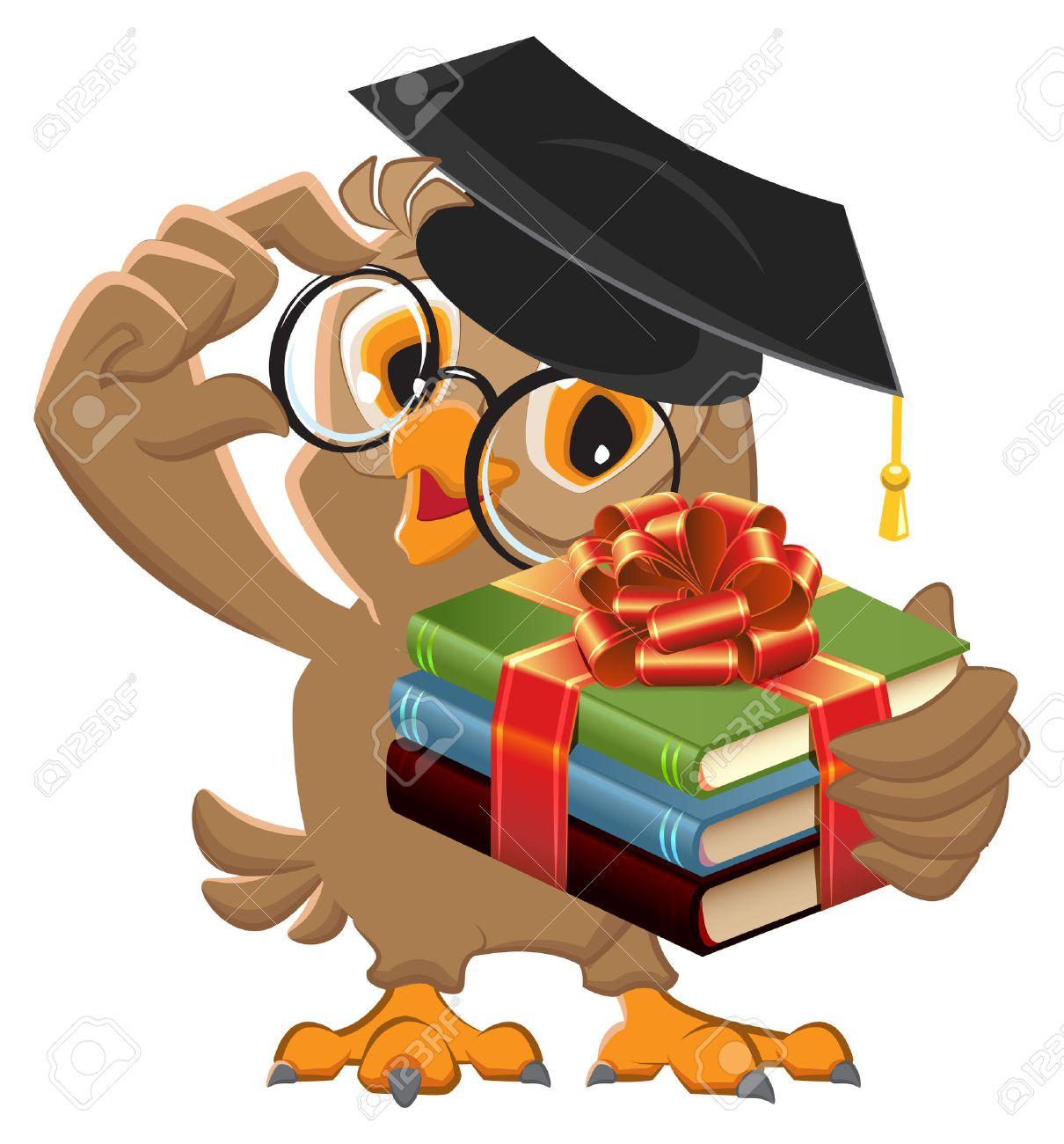 Owl teacher holding gift book. Book is best gift. cartoon illustration - 53142013