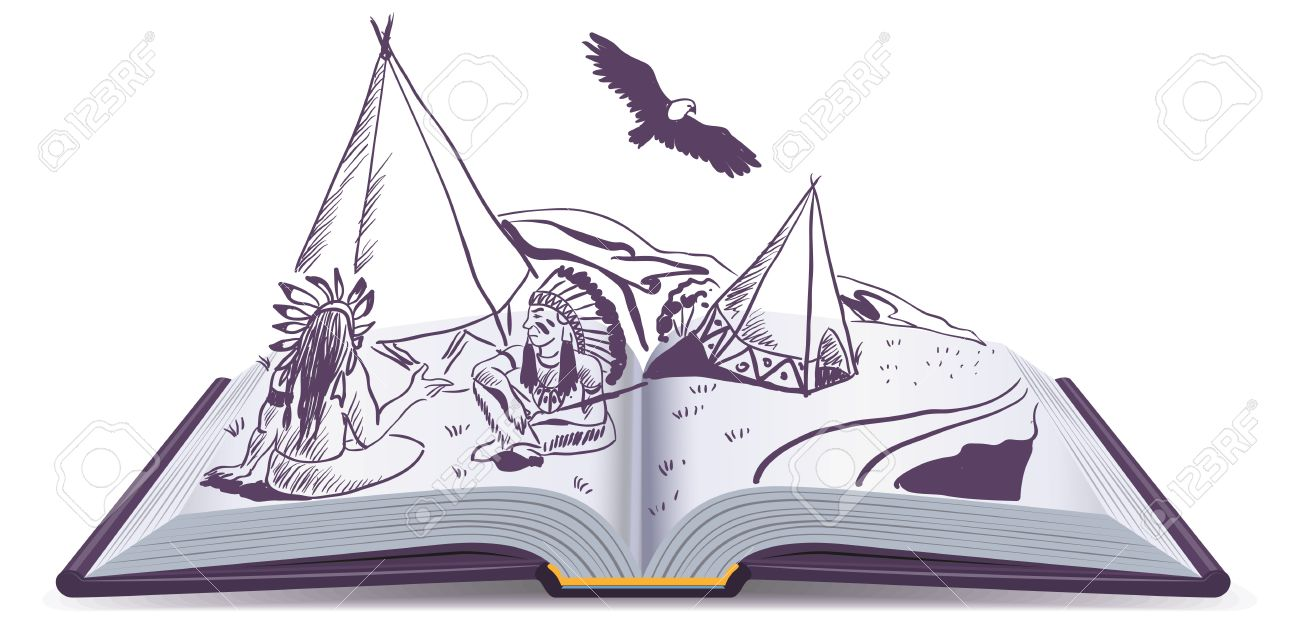 open book indians sit at wigwam on pages of open book adventure