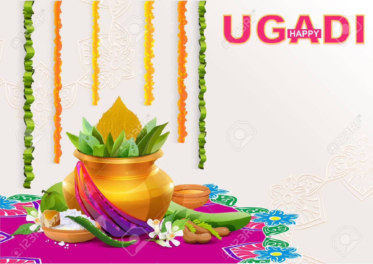Happy Ugadi. Template greeting card for holiday Ugadi. Gold pot with coconut. Illustration in vector format - 55584031