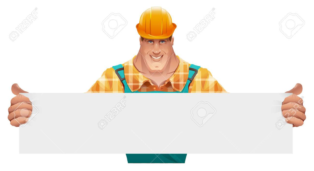 Strong male worker holding blank banner. Man in overalls. Worker in helmet. Cartoon illustration in vector format - 55601598