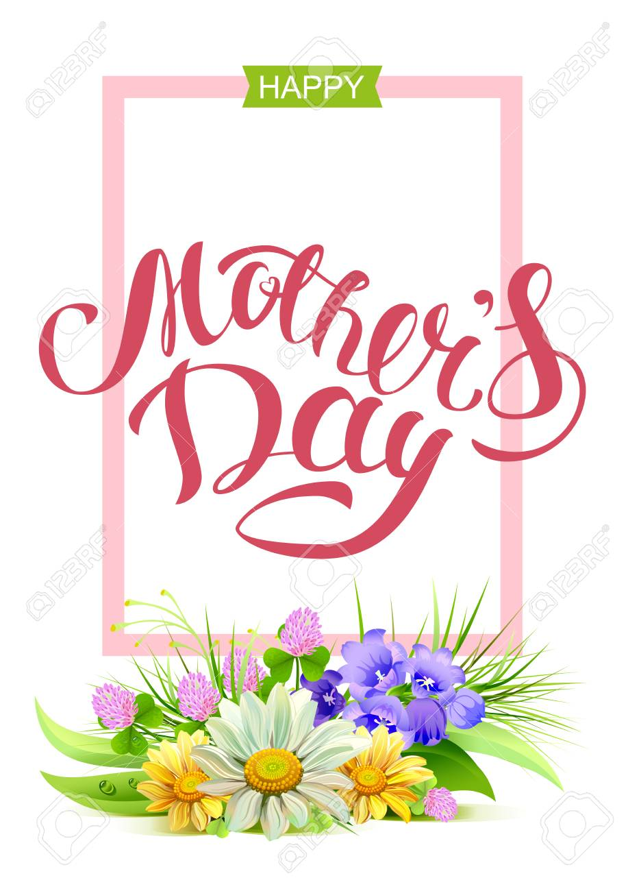 Happy Mothers Day Holiday For Mom Greeting Card Lettering Text