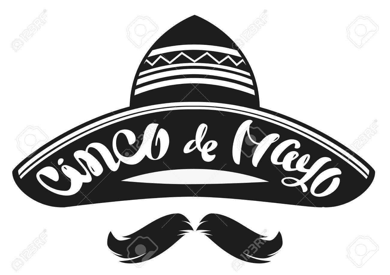Cinco De Mayo Mexican Wide Brimmed Hat Sombrero Lettering Text Header For Greeting Card