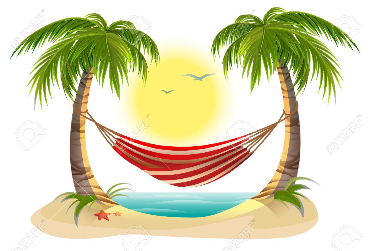 Vacances à La Plage Hamac Entre Les Palmiers Cartoon Illustration