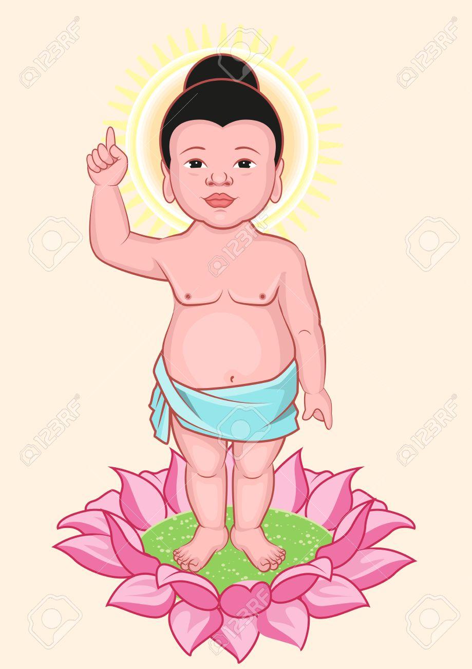 Buddha Birthday Little Buddha Stands On Lotus Flower Royalty Free