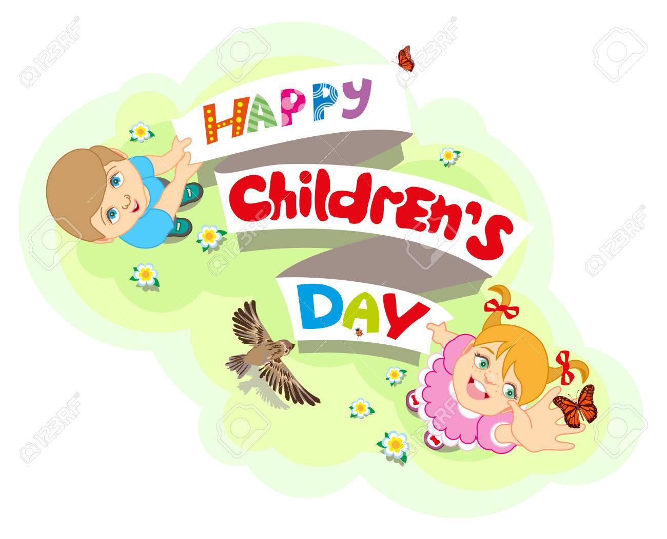 Feliz Día Del Niño Niño Y Niña Las Letras Del Texto Para La