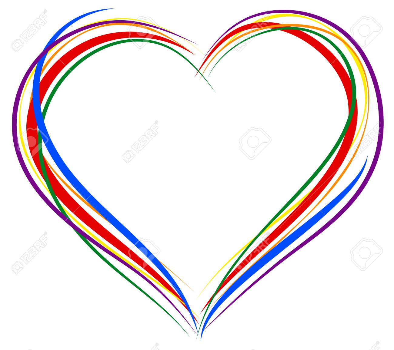 lgbt heart symbol sign of heart outline rainbow heart for