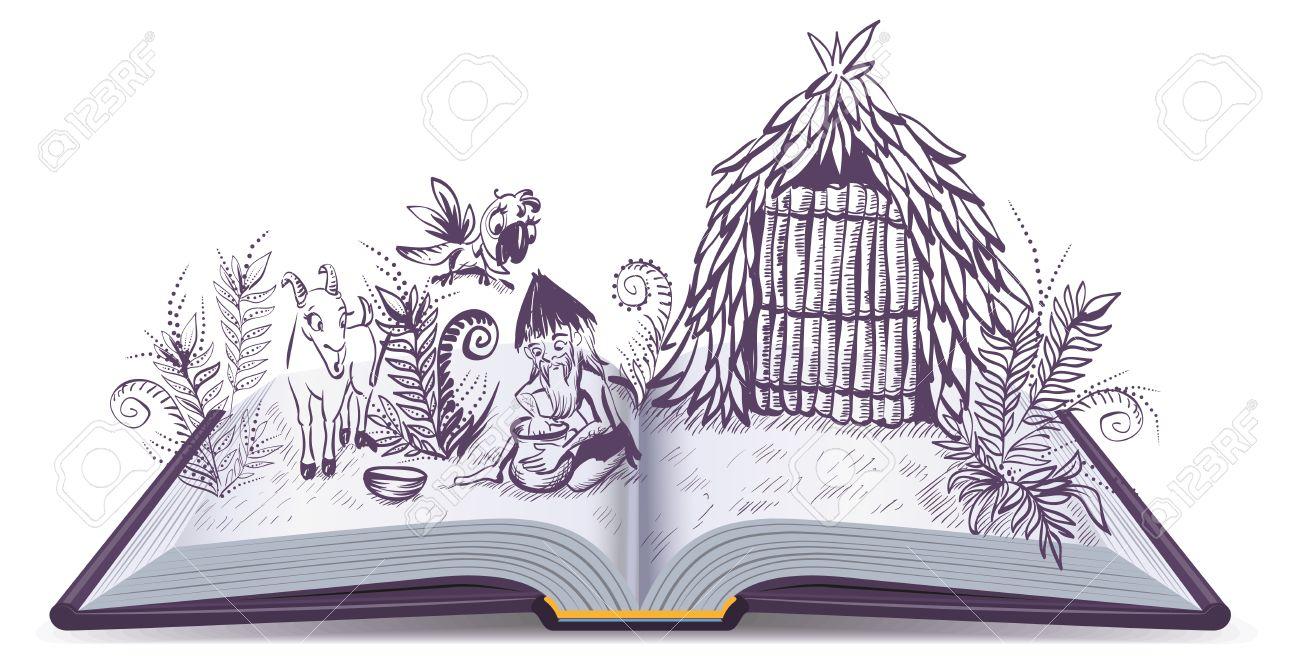 Robinson Crusoe on desert island. Open book adventure. Cartoon illustration - 60220030