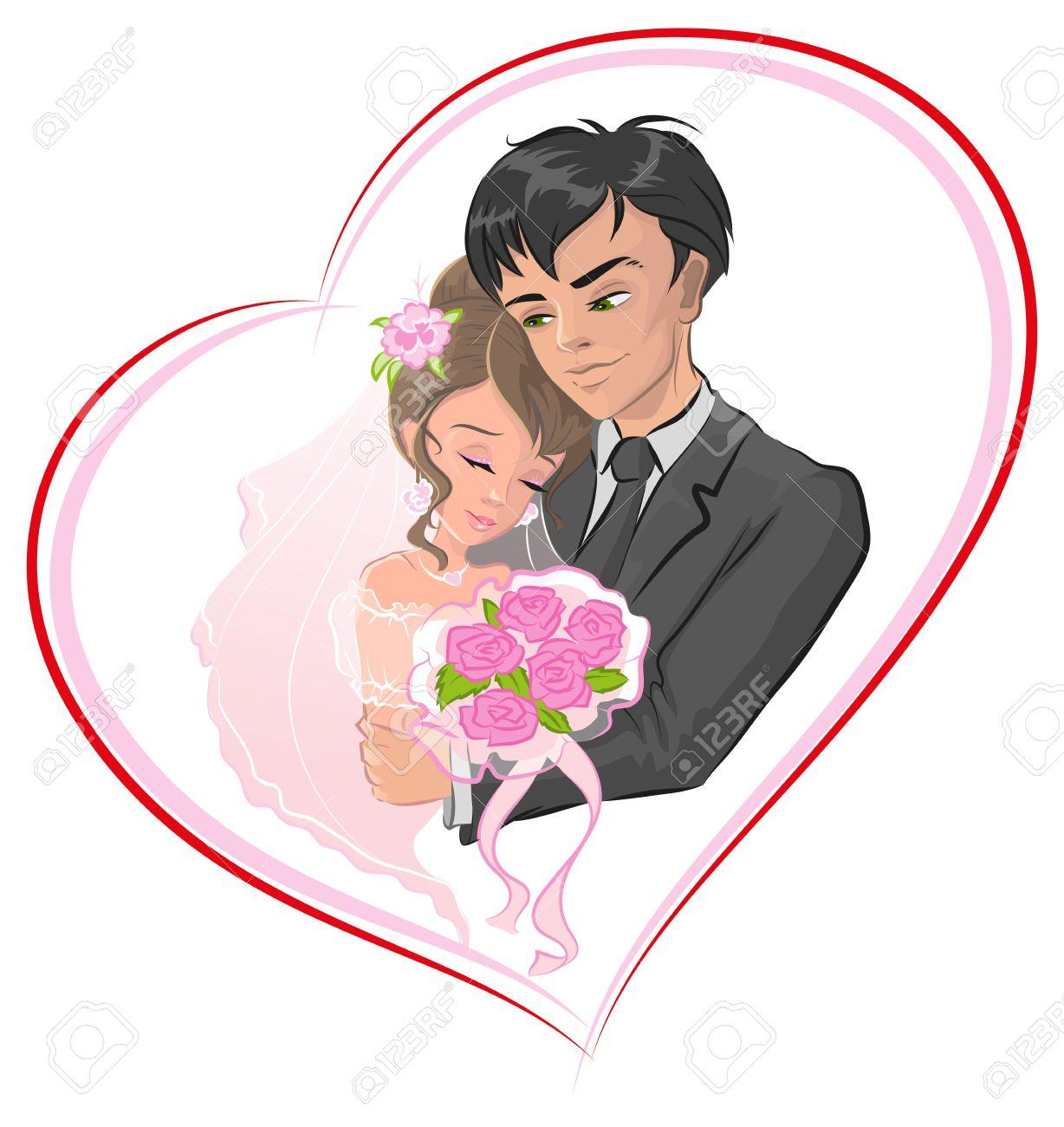 Favori Oggi Sposi Sposi. Sposi In Cornice A Forma Di Cuore. Cartoon  UL55