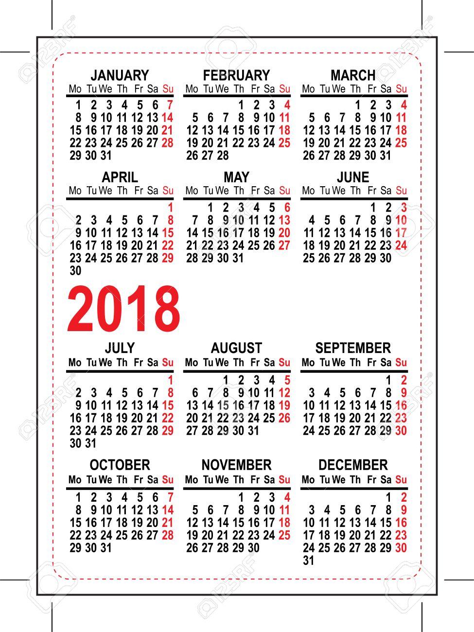 Grid Pocket Calendar Illustration In Vector Format Royalty - Calendar format