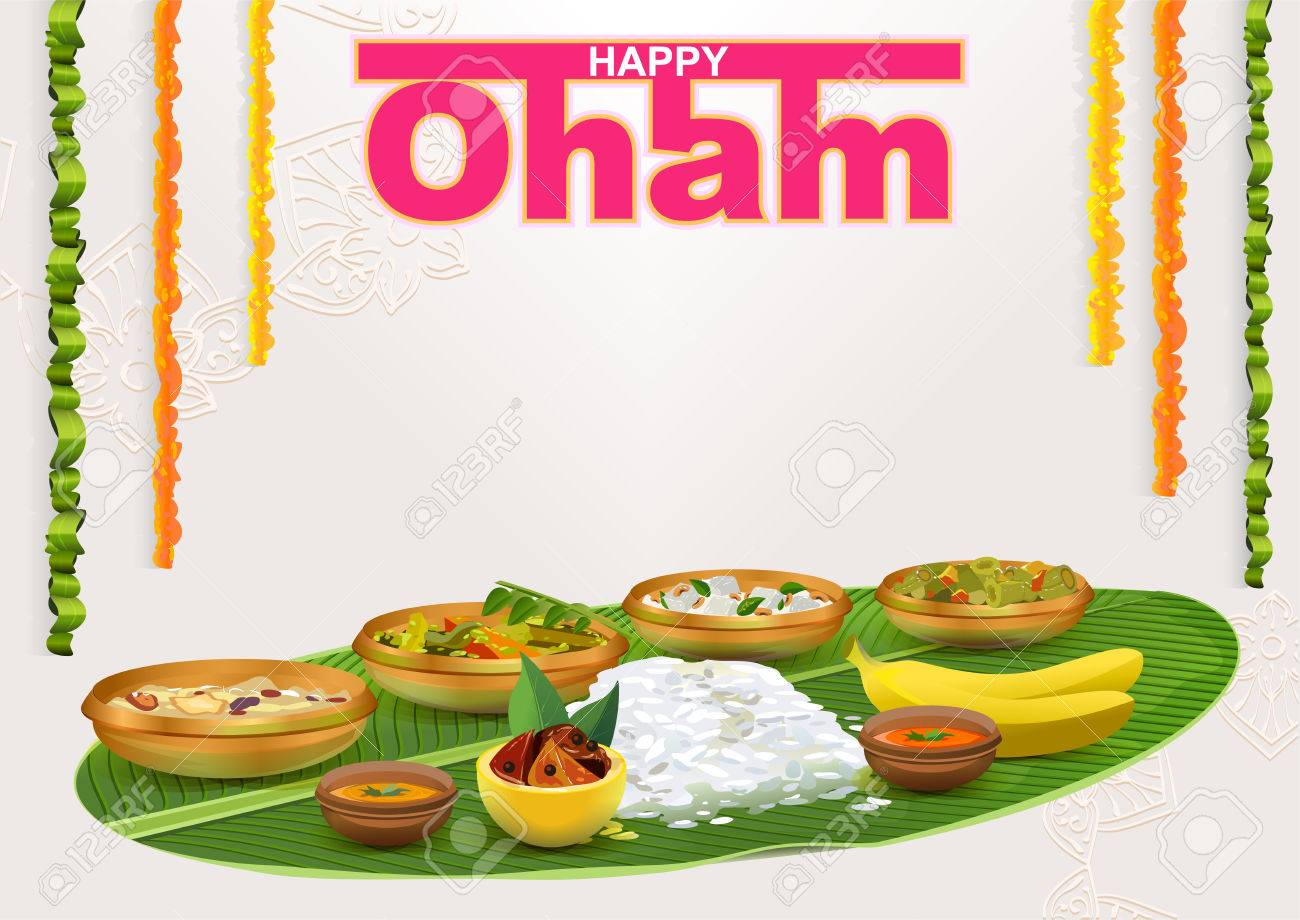 Happy onam food for hindu festival in kerala template vector happy onam food for hindu festival in kerala template vector illustration for greeting card kristyandbryce Image collections