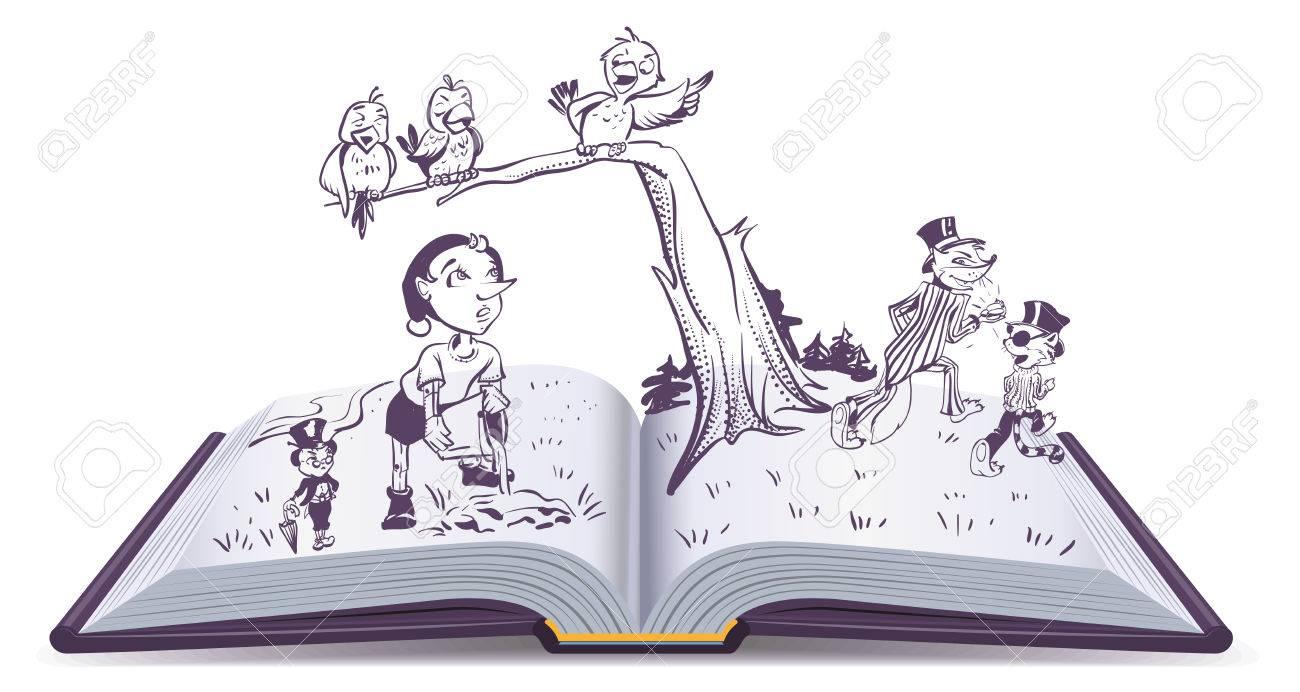 Conte D Illustration Livre Ouvert De Pinocchio Dessin Anime De Vecteur