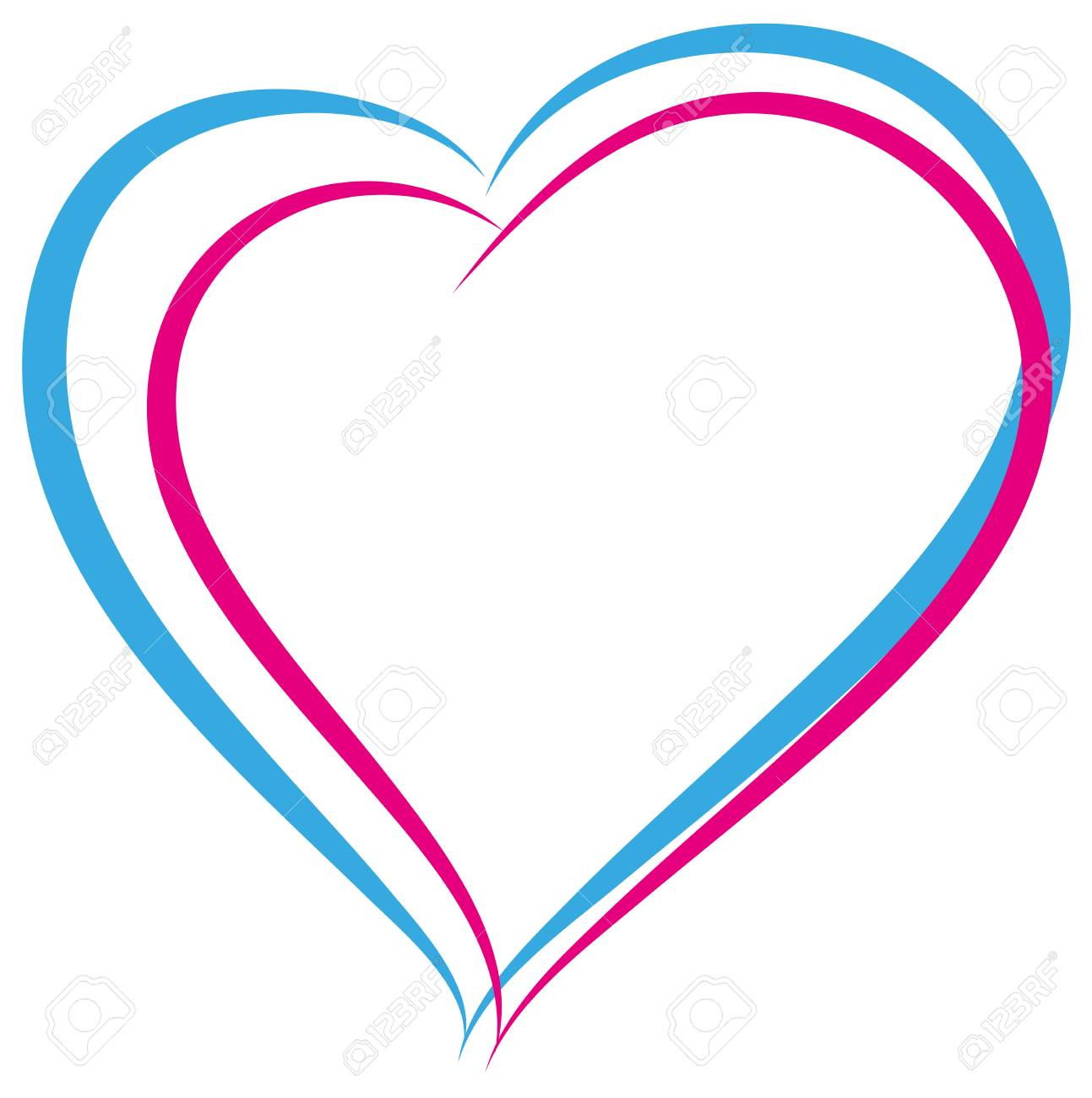 Blue And Pink Heart Symbol Of Love Heterosexual Couple Sign