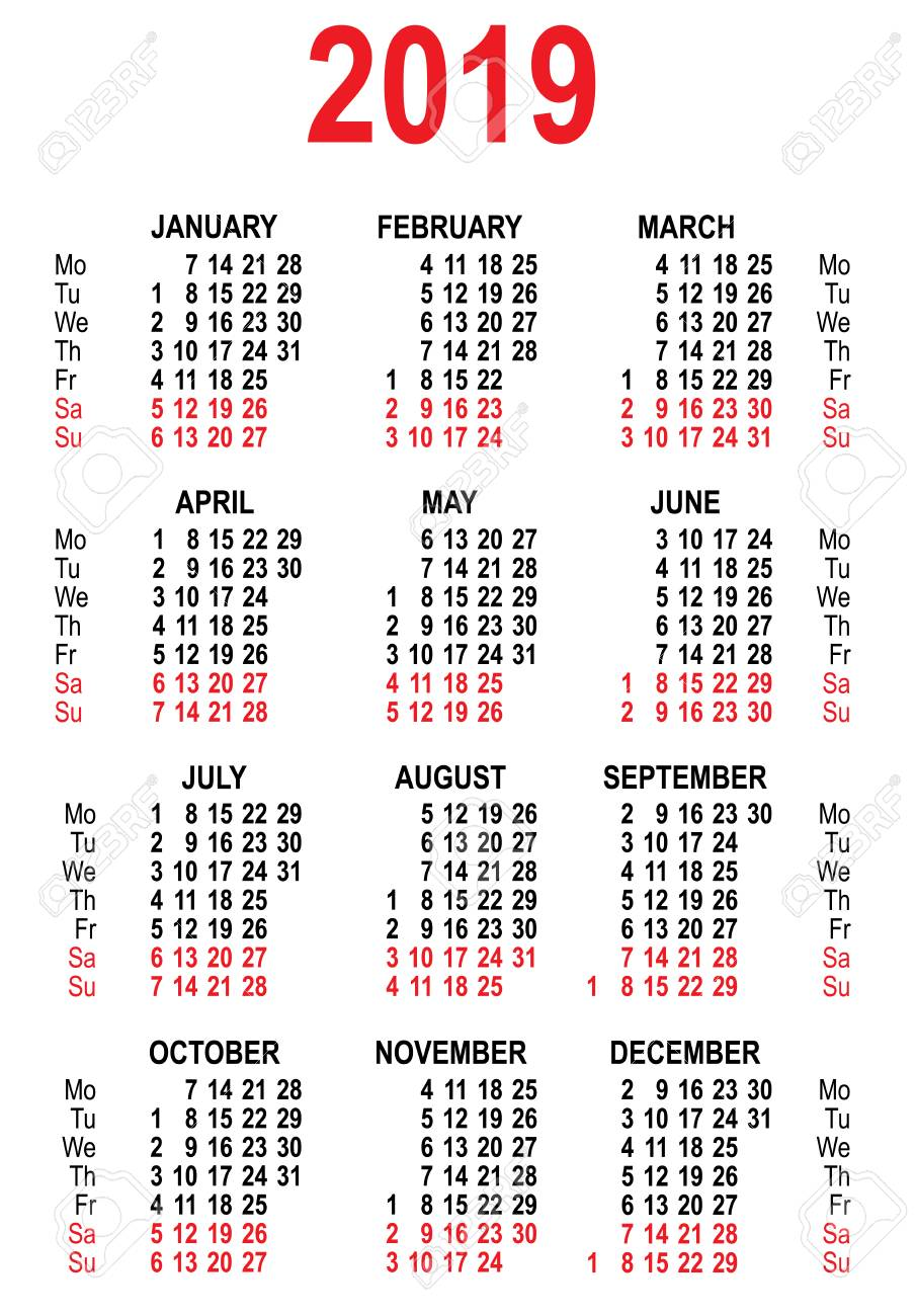 Template Calendrier 2019.Calendar 2019 Grid Template Isolated On White Vector Illustration