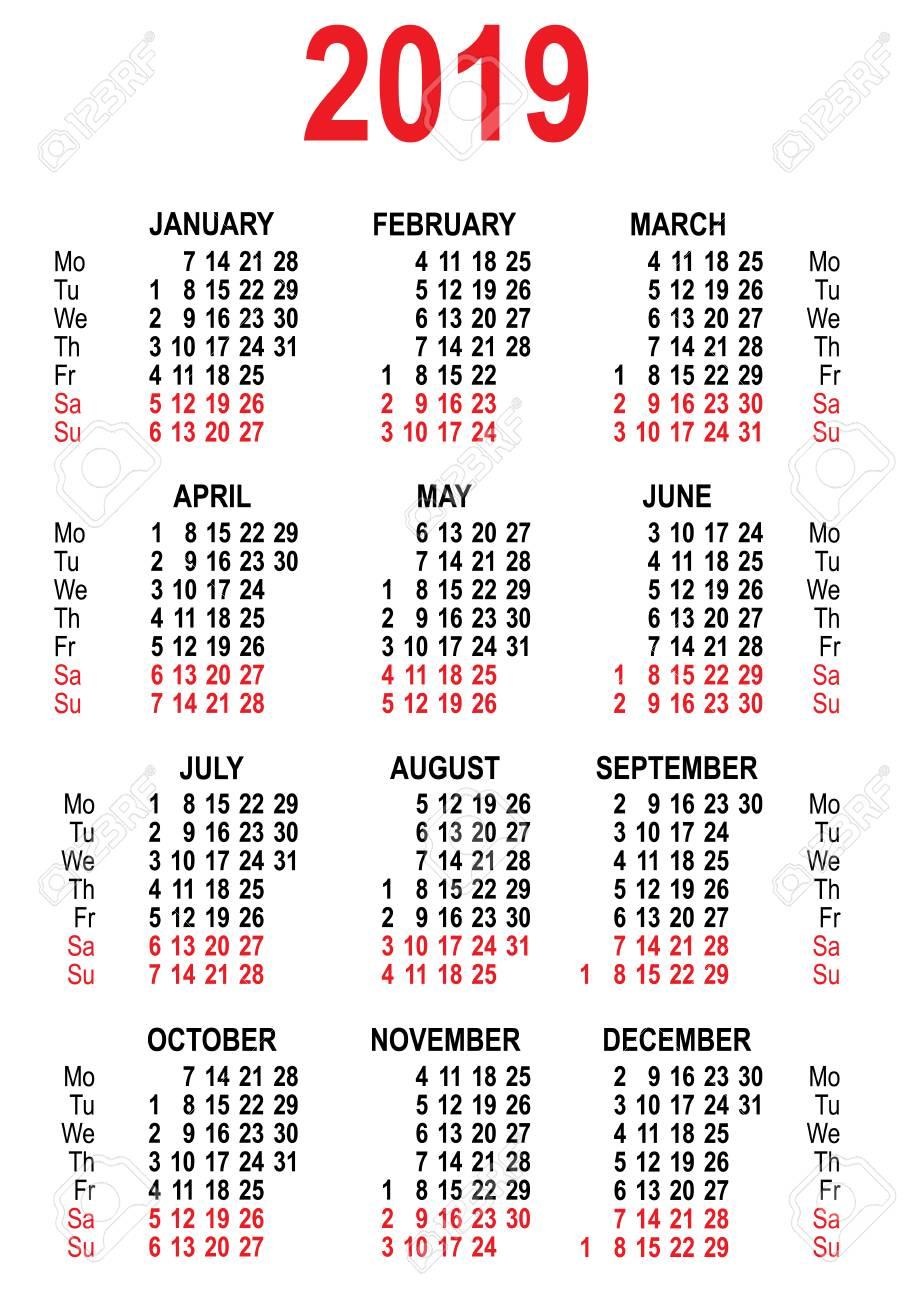 Calendario Vector Blanco.Plantilla De Cuadricula Calendario 2019 Aislado En La Ilustracion Del Vector Blanco