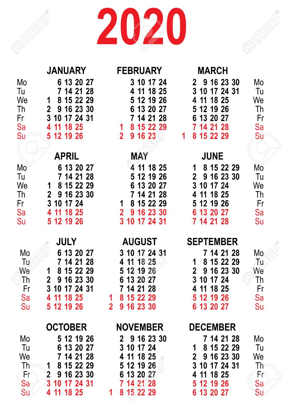Calendario 2020 Vector Gratis.Calendar 2020 Grid Template Isolated On White Vector Illustration