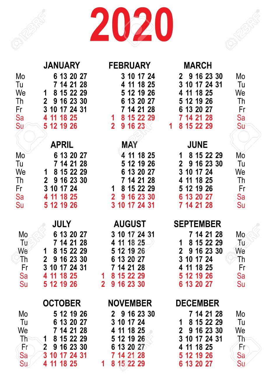Calendario Del Ano 2020 En Espanol.Plantilla De Cuadricula De Calendario 2020 Aislado En La Ilustracion Del Vector Blanco