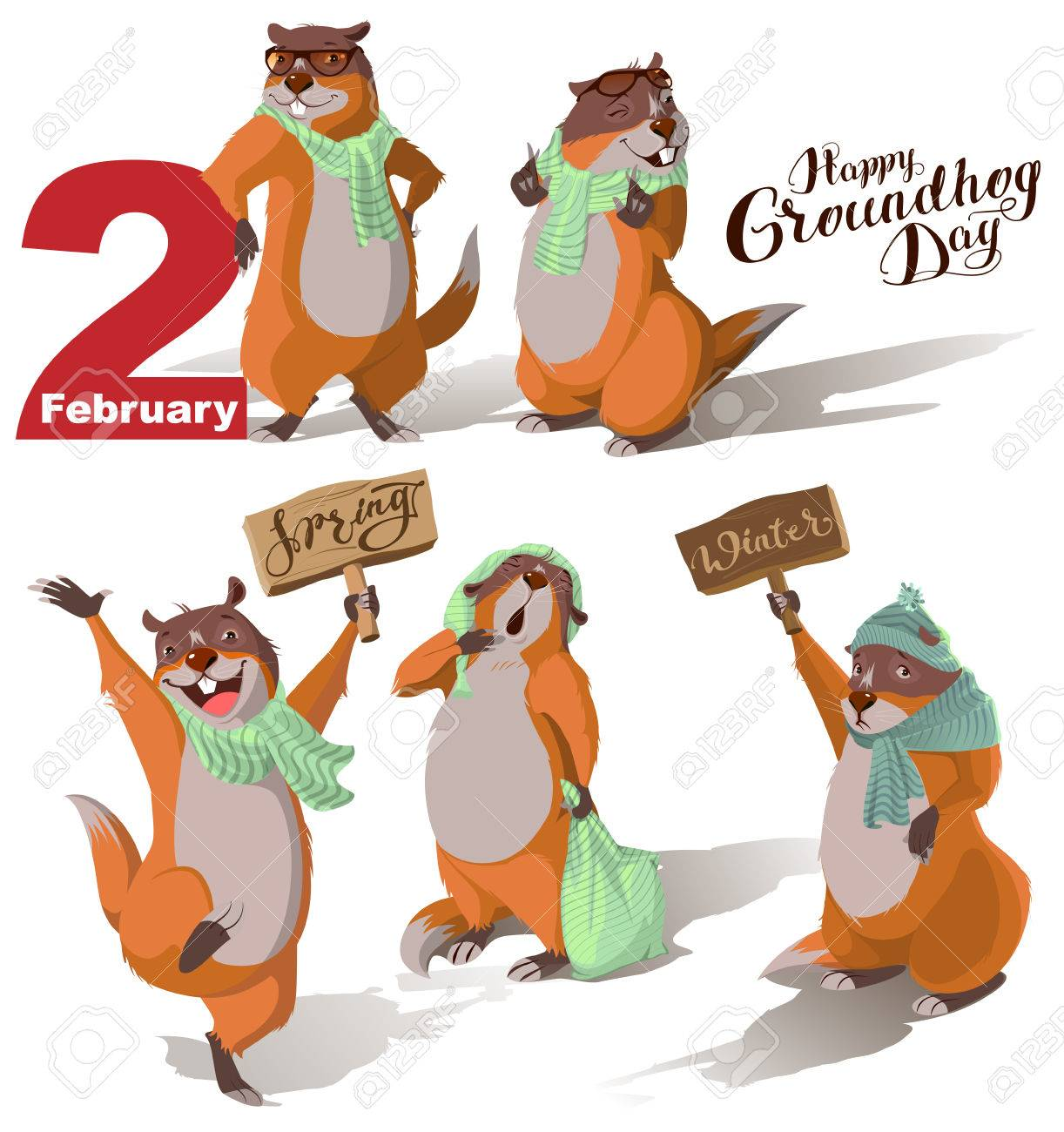Happy Groundhog Day. Set Marmot casts shadow. Lettering text for greeting card. Vector cartoon illustration - 70623177