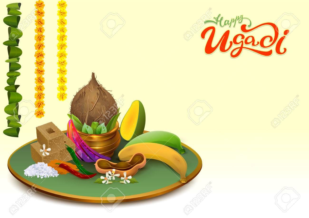 Happy Ugadi. Template greeting card Set Holiday accessories. Gold pot, coconut, sugar, salt, pepper, banana, mango. Vector food illustration - 73109137