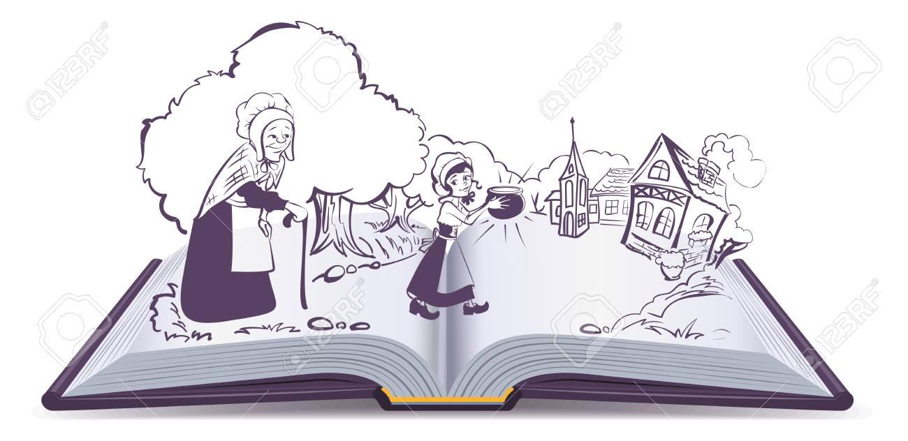 Offenes Buch Marchen Susser Zauberbrei Topf Isoliert Auf Weissem