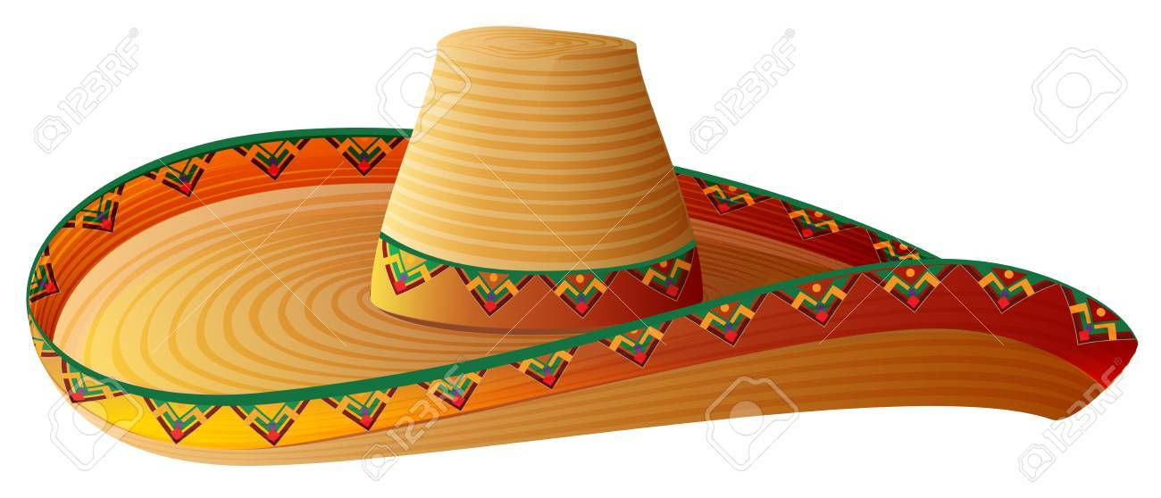sombrero mexican straw hat with wide margins royalty free cliparts