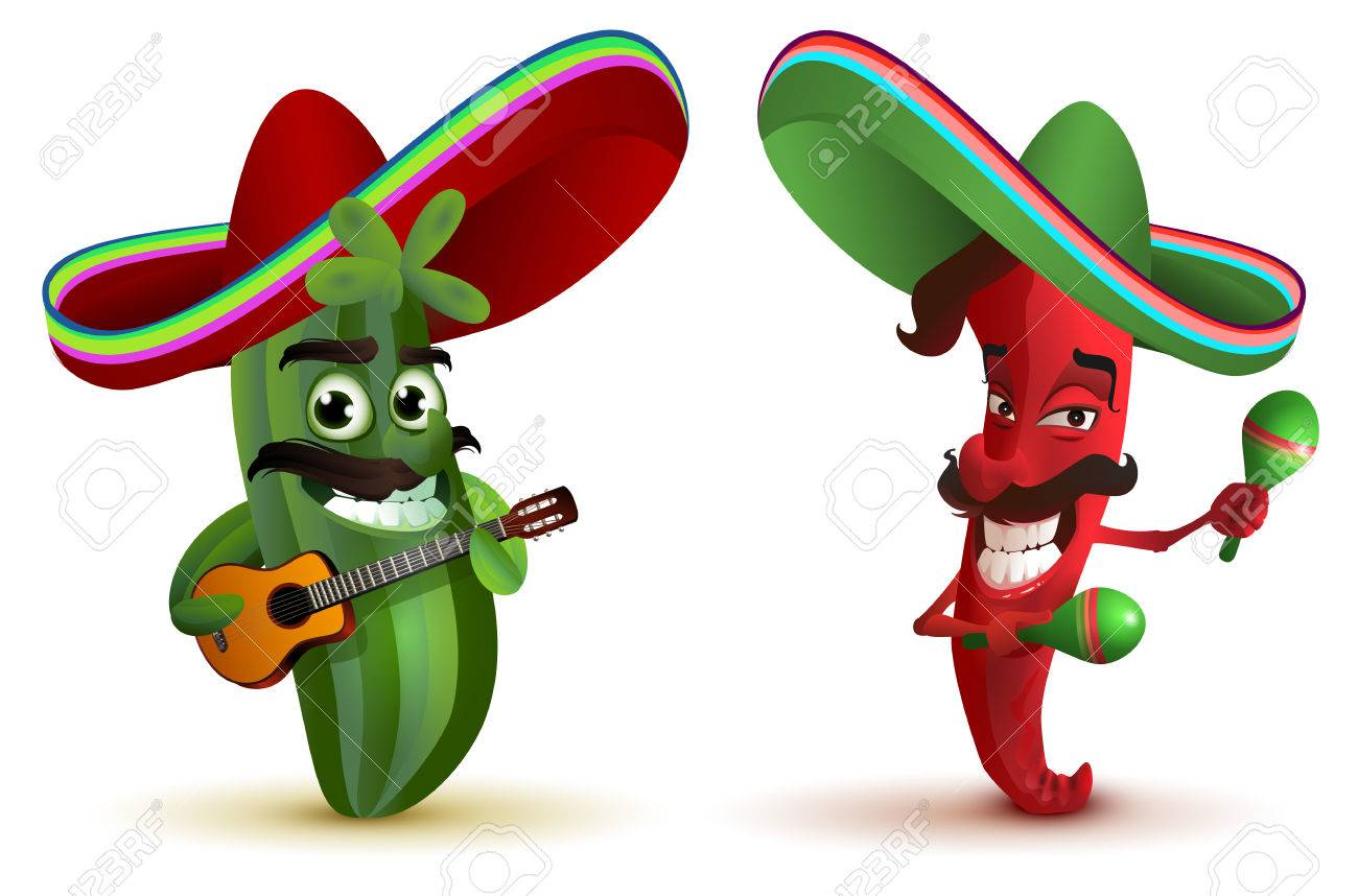 Red hot chili peppers and cactus in Mexican hat sombrero dancing maracas. Isolated on white vector illustration - 76774770