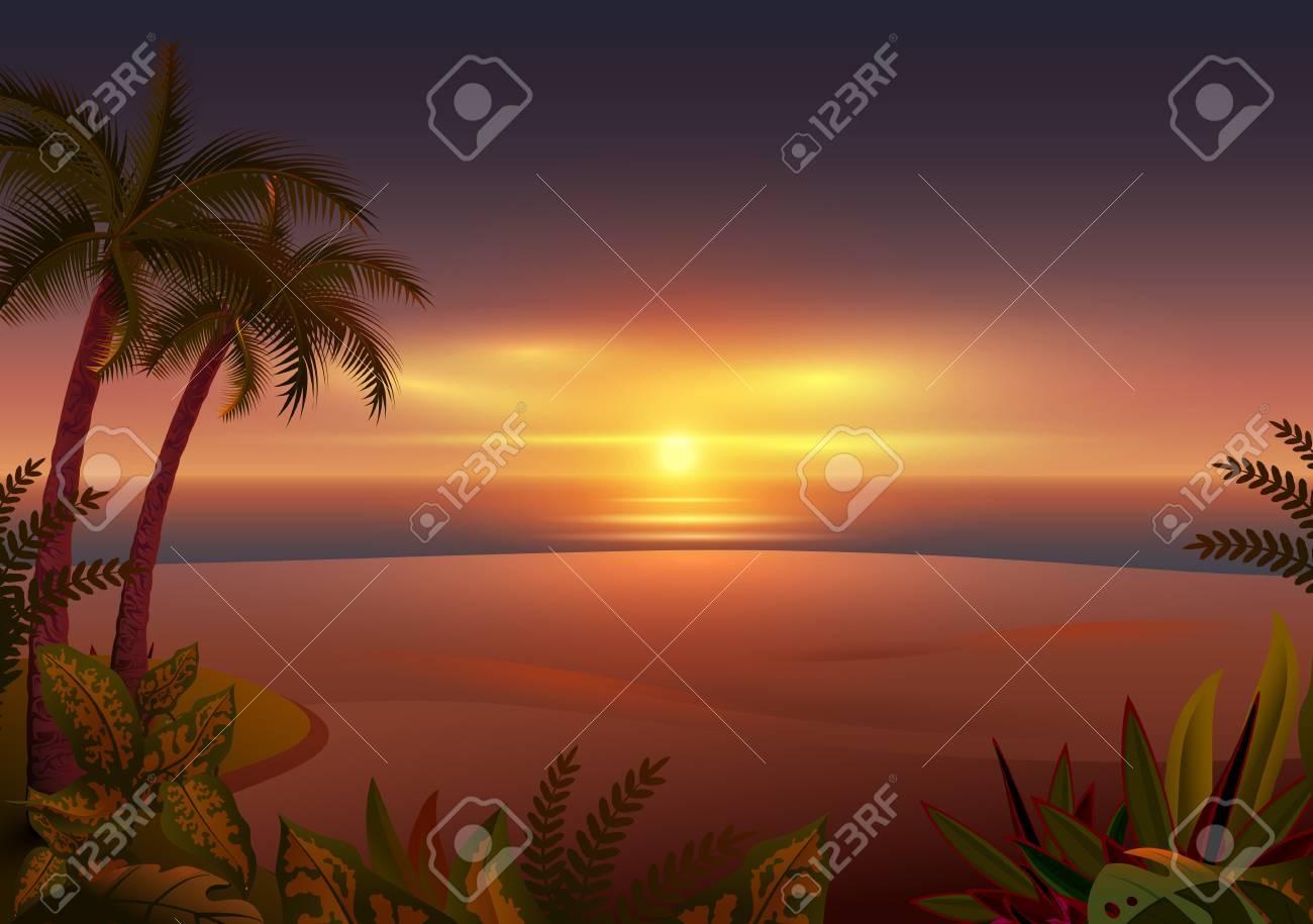 Atardecer En La Isla Tropical Palmeras Mar Y Playa Ilustración De Dibujos Animados De Vector