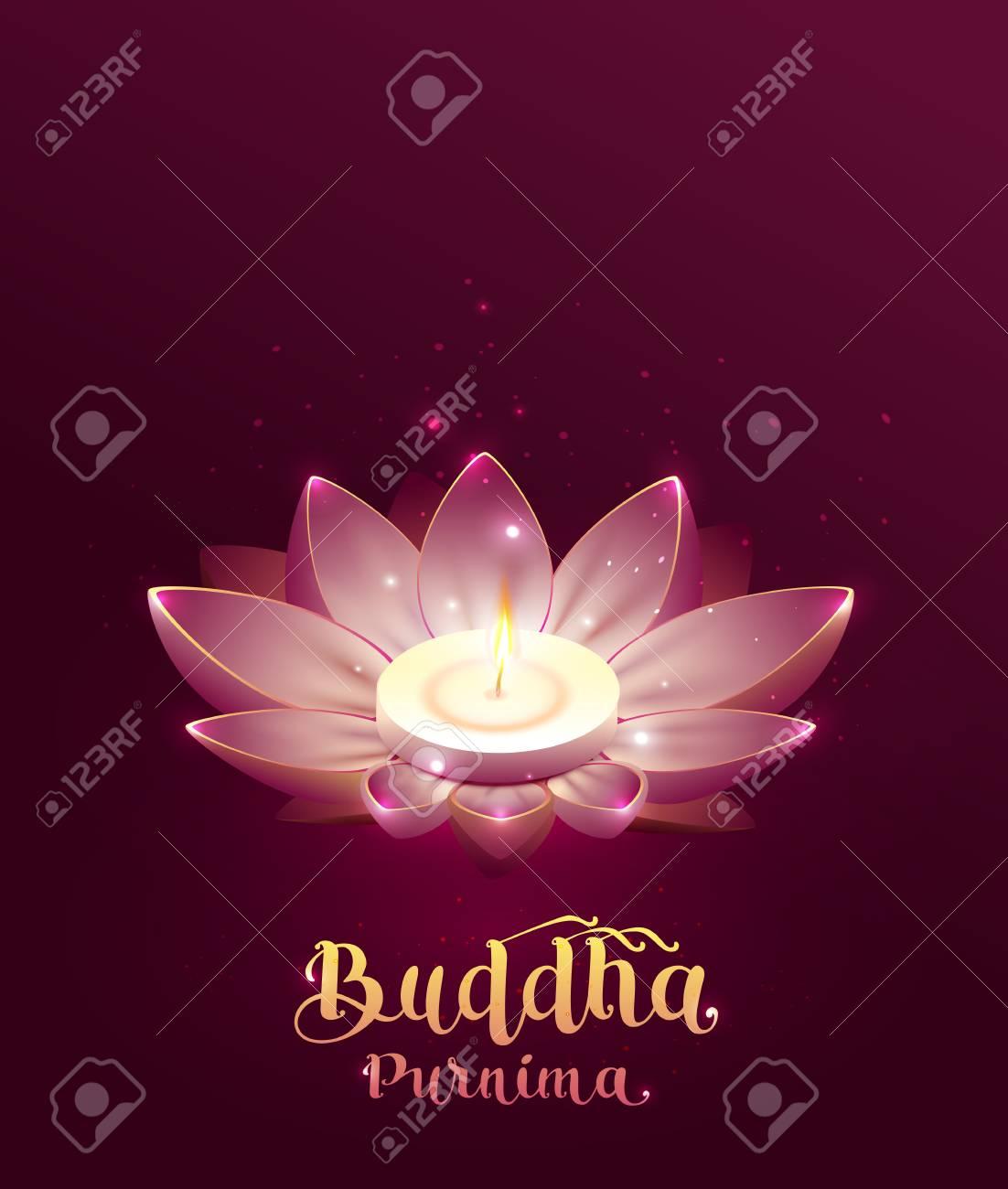 Buddha Purnima Vesak Day Lettering Text Greeting Card Lotus