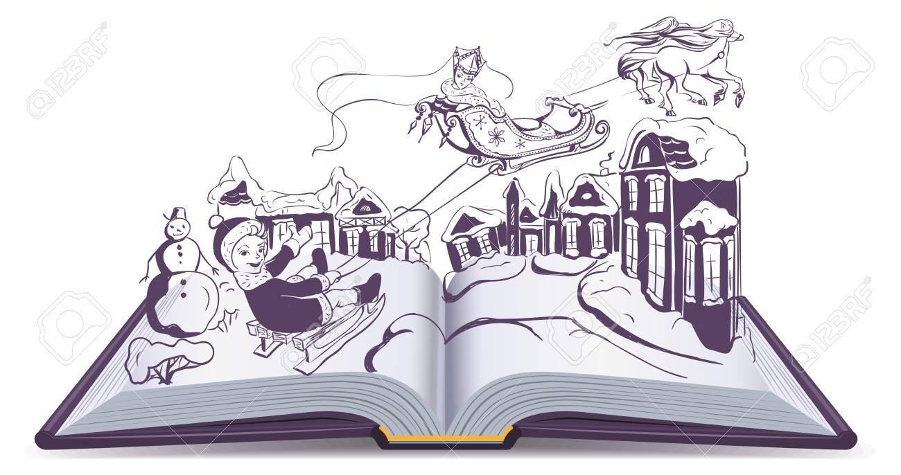 Illustration Conte De Fée ouvrez livre illustration conte de fées neige reine. isolé sur le