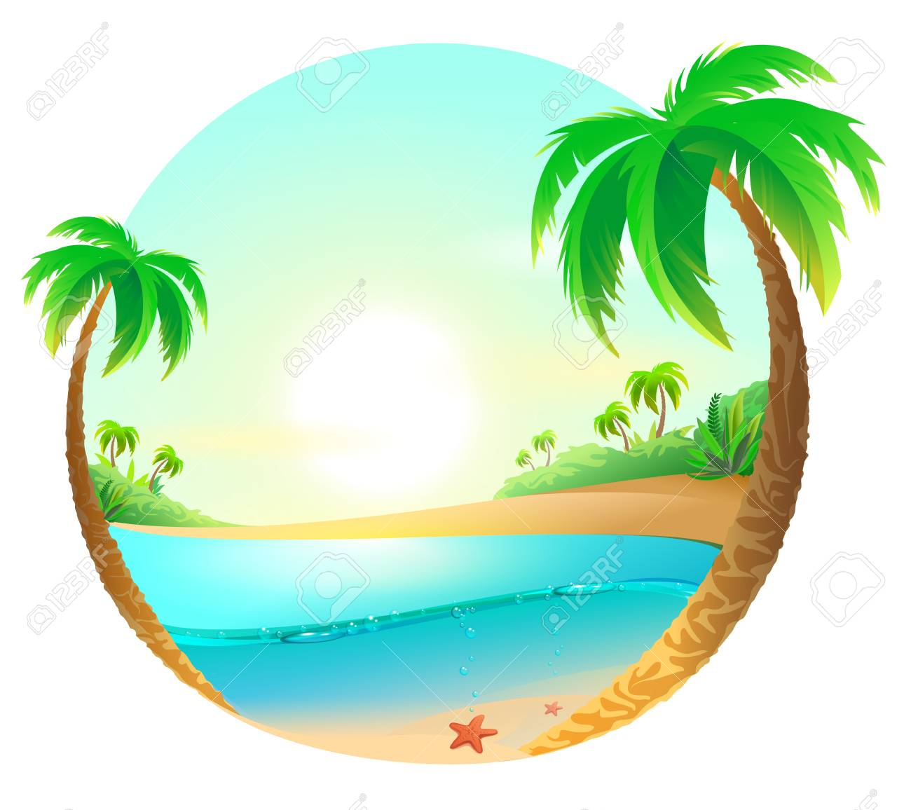 Tropical beach among palm trees. Vector cartoon illustration - 80907461