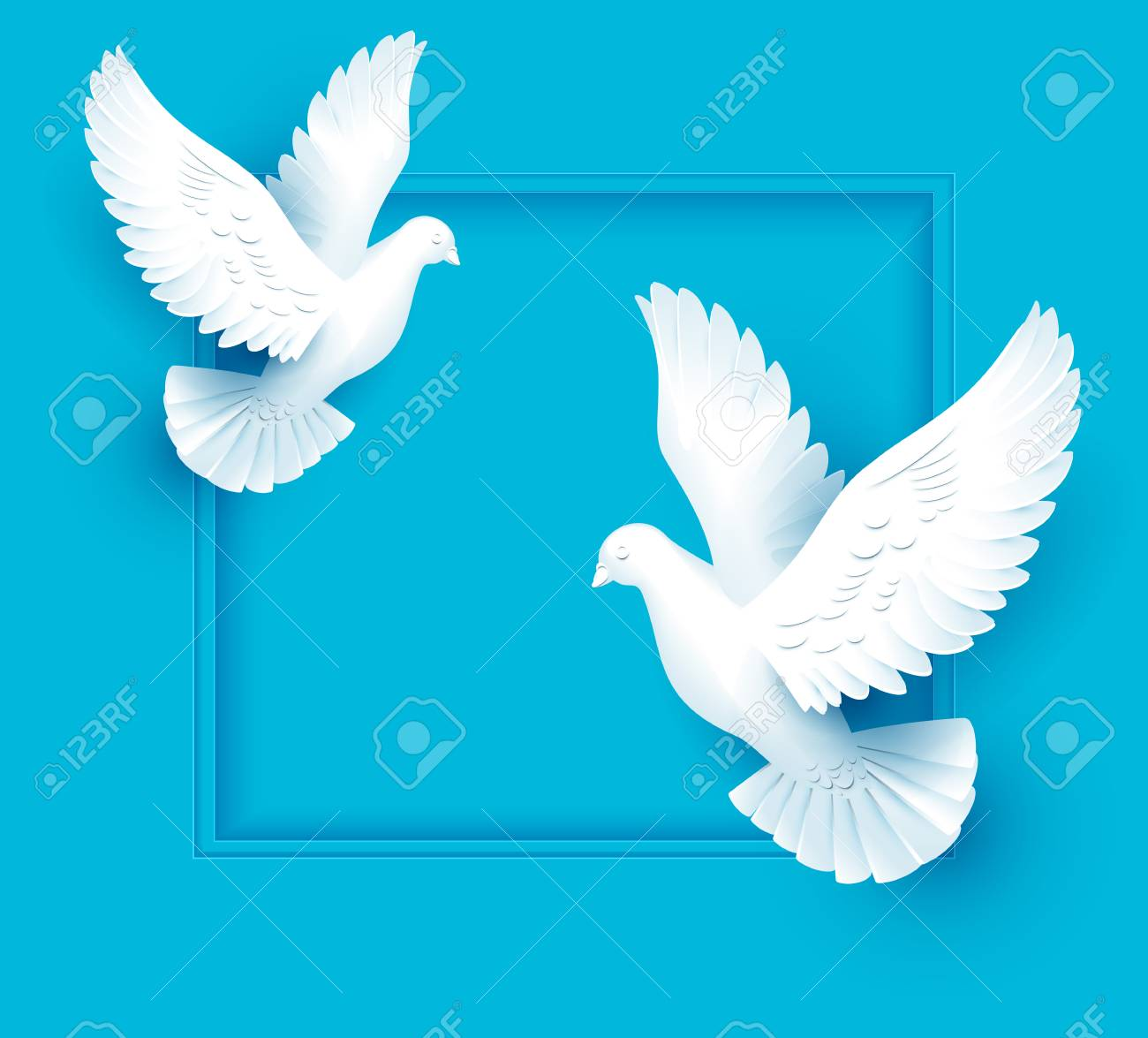 Two white dove fly on blue background. Template vector illustration greeting card. - 83574065