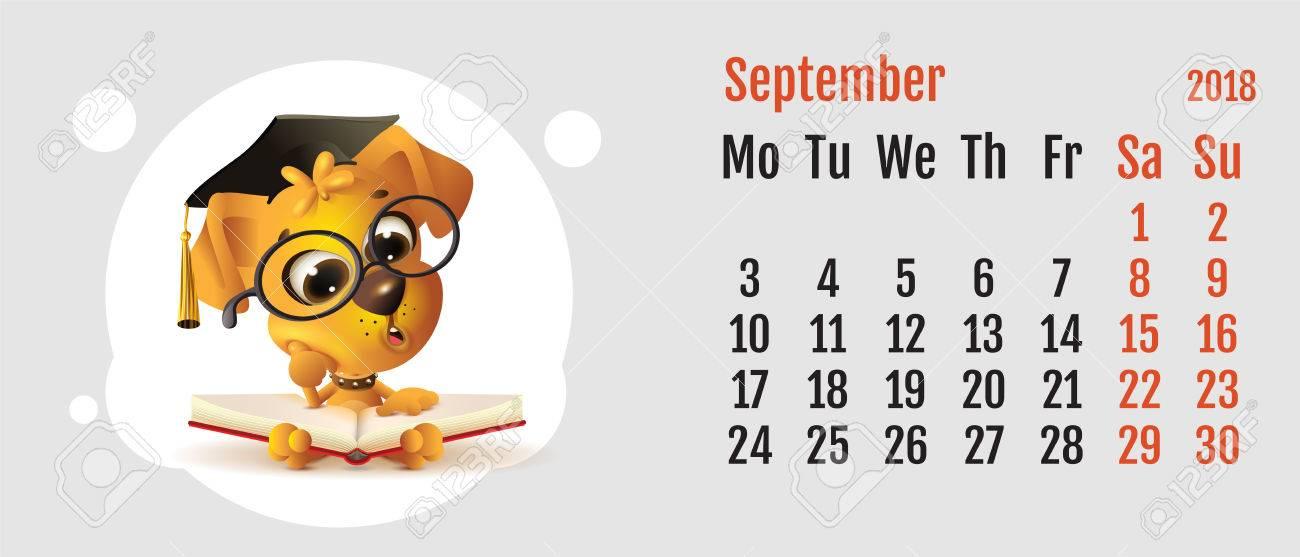 Calendario Dibujo Septiembre.2018 Anos De Perro Amarillo En El Calendario Chino Libro De Lectura Divertido Del Perro Mes Cuadricula Calendario Septiembre Ilustracion De Dibujos