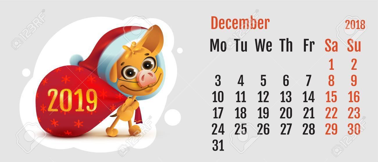 December 2019 Calendar Fun 2018 Year Of Yellow Dog On Chinese Calendar. Fun Santa Dog Carries