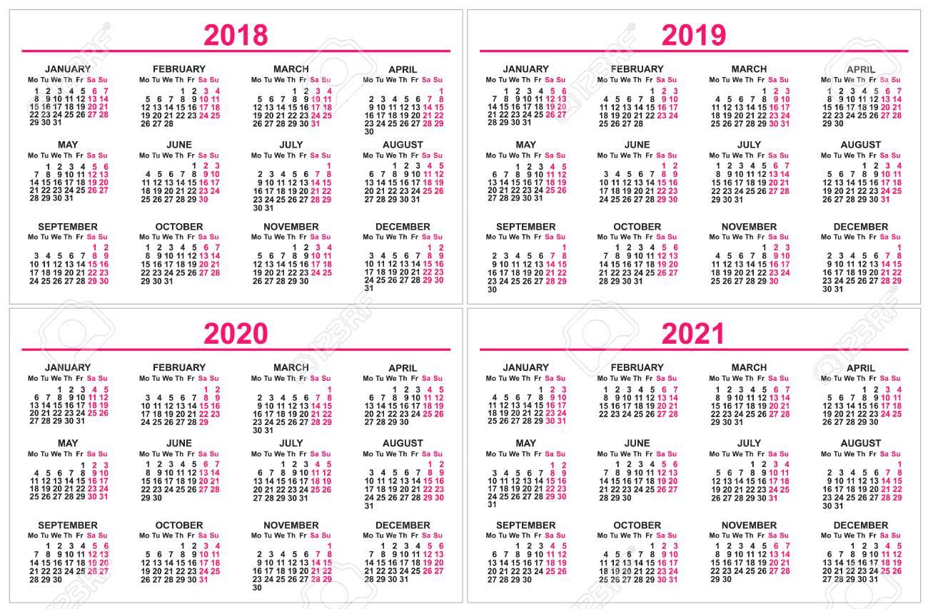 Calendario 2020 Vector Gratis En Espanol.Set Wall Calendar 2018 2019 2020 2021 Grid Template Isolated