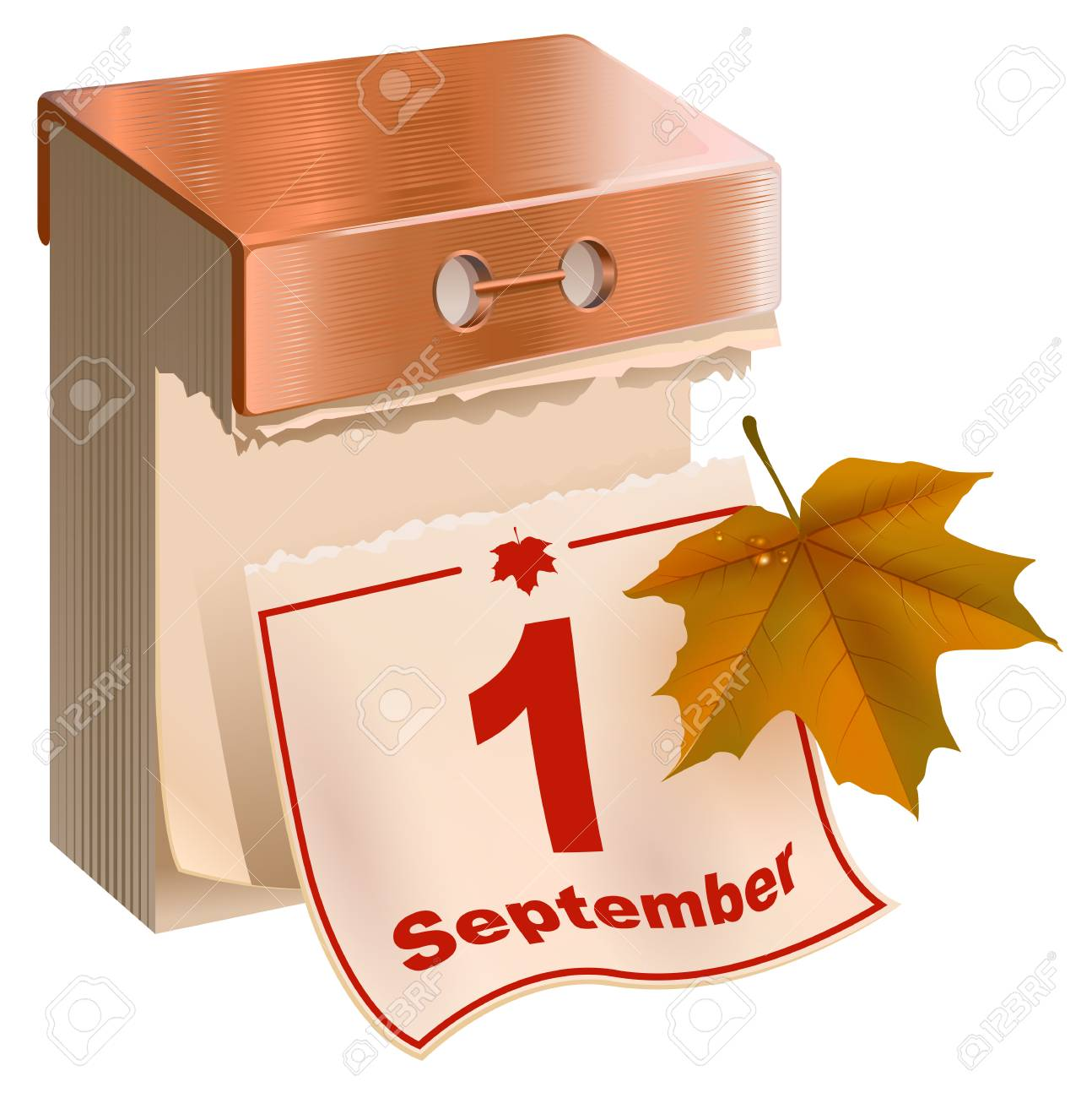 Calendario A Strappo.Il 1 Settembre E Iniziato L Autunno Calendario A Strappo E Foglia D Acero Gialla Isolato Sull Illustrazione Bianca Di Vettore