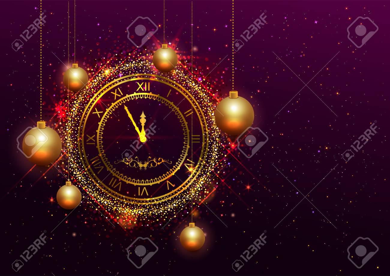Vectorial De Números Con Nochevieja RomanosIlustración Reloj Oro 3ulFJcTK1
