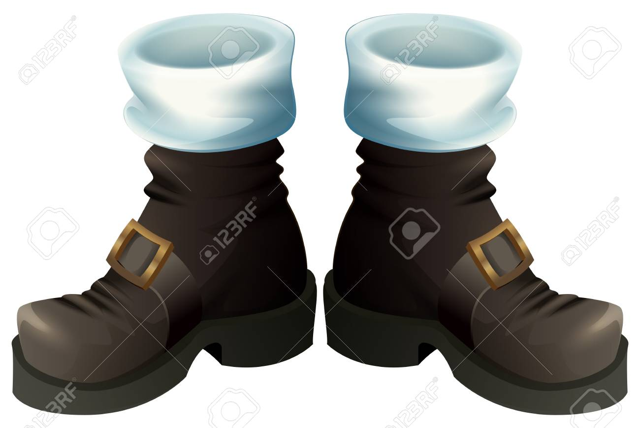 Black shoes with gold buckles. Isolated on white vector cartoon illustration - 90515941