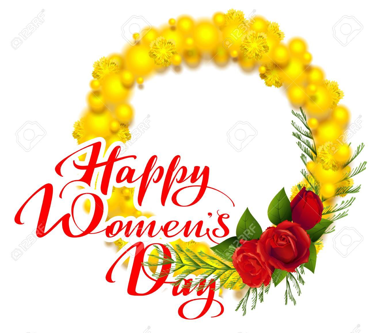 Bonne Fete Des Femmes Banniere De Voeux De Coeur Jaune Et Rouge