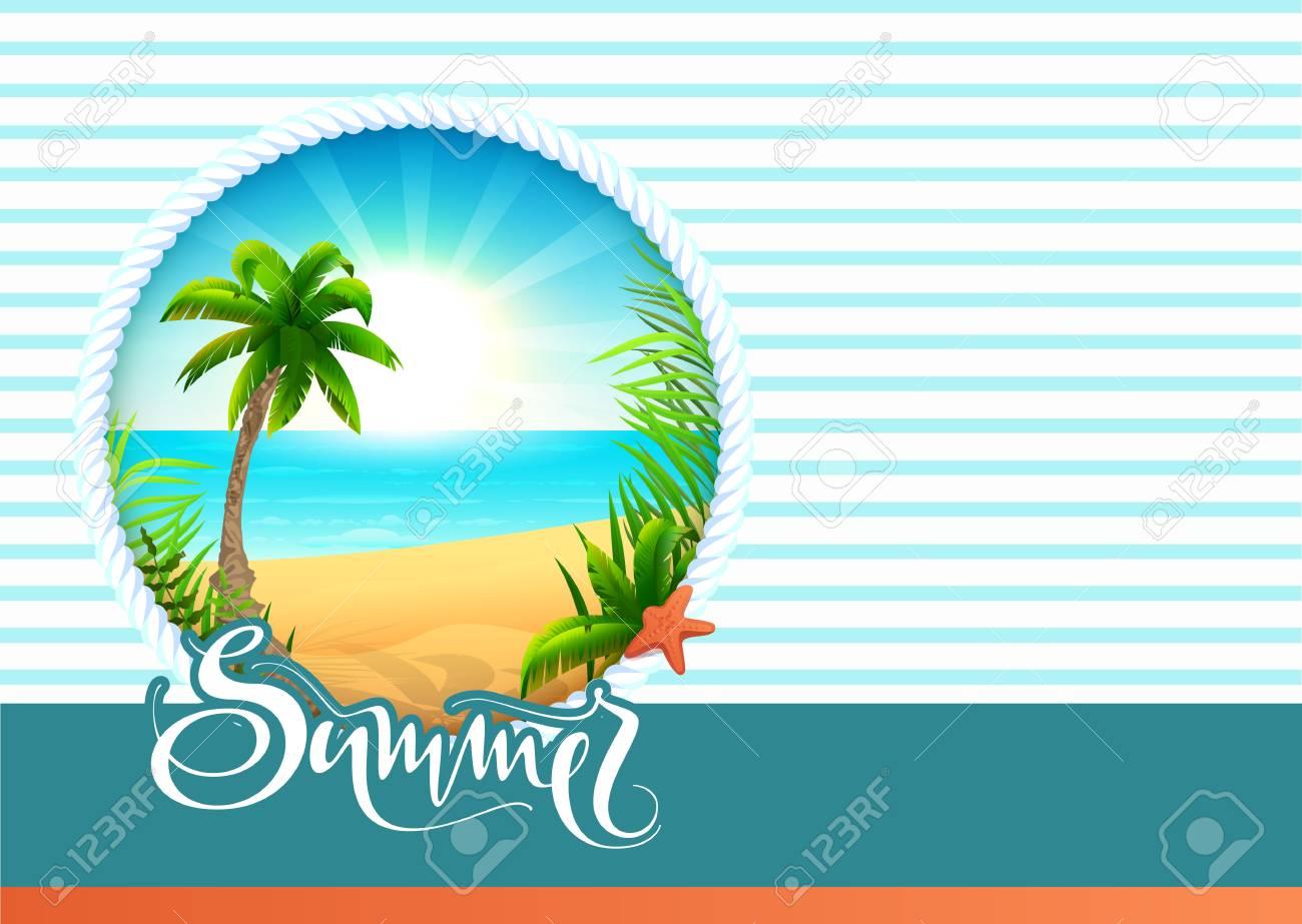 Birthday Card  UNUSED BIRTHDAY Tropical Beach Ocean Conch Shell Blue Sky Sand