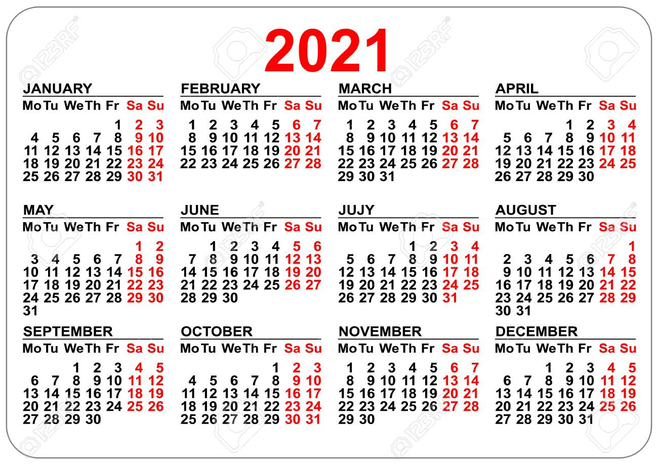 Pocket Calendar 2021 Grid Template Isolated On White. Vector
