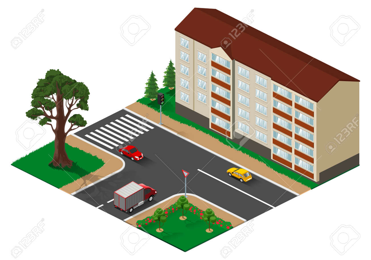 Three way junction intersection with main road isometric illustration. Vector 3d isolated on white - 166724048