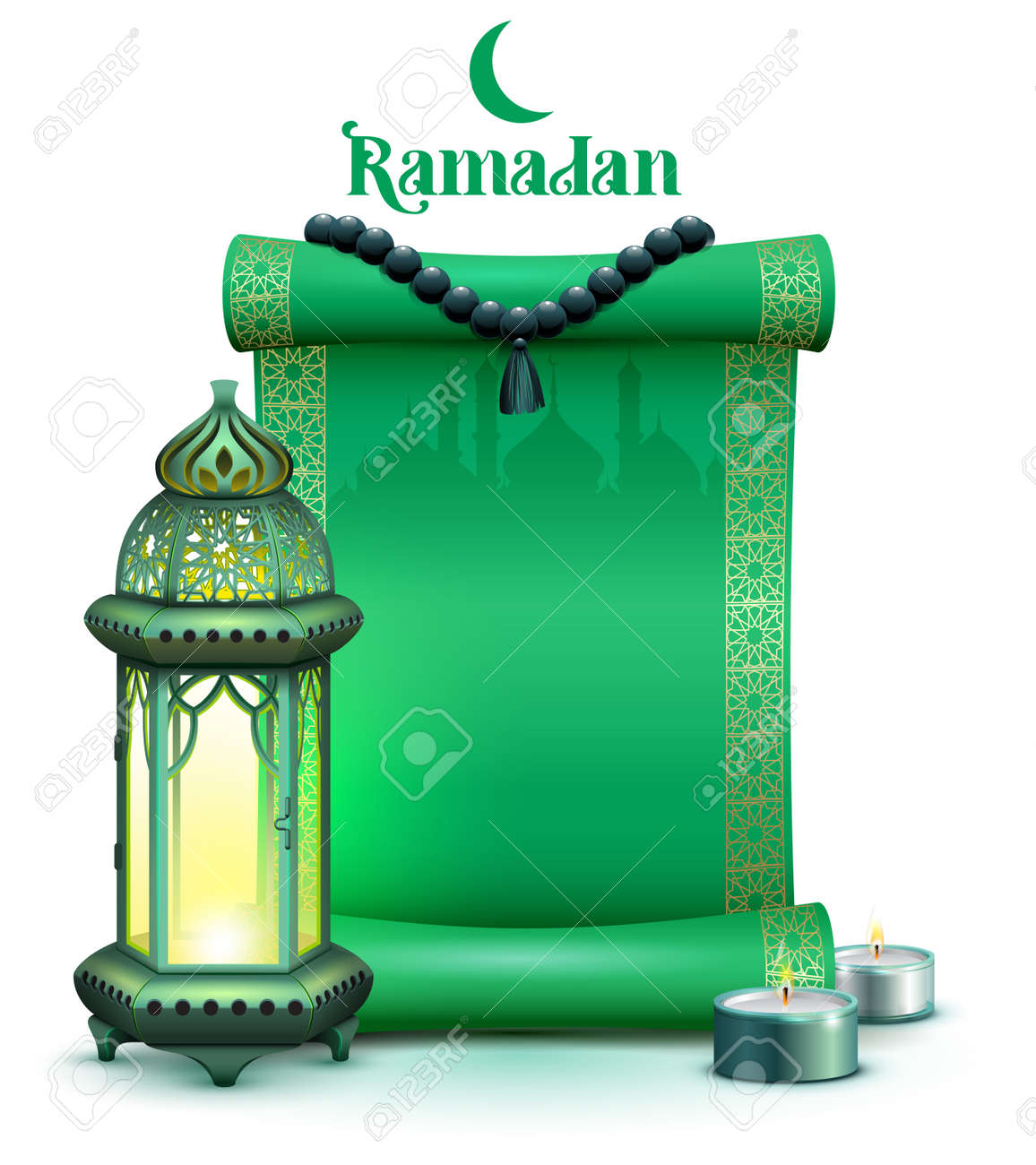 Holy month ramadan green scroll, vintage lamp and candles on background of mosque. Vector illustration template greeting card - 167102075