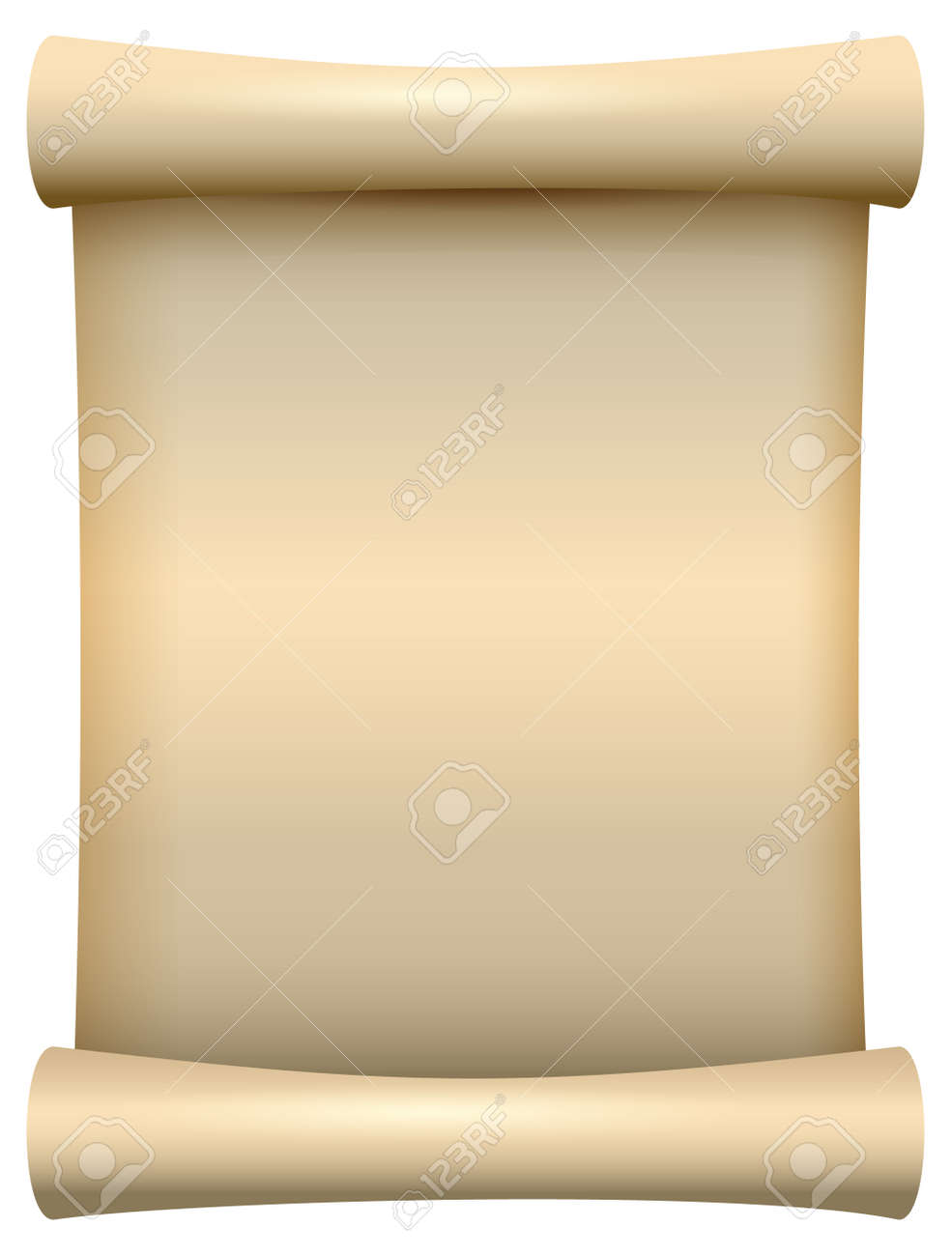 Empty blank paper scroll papyrus isolated on white. Vector cartoon illustration - 167099789