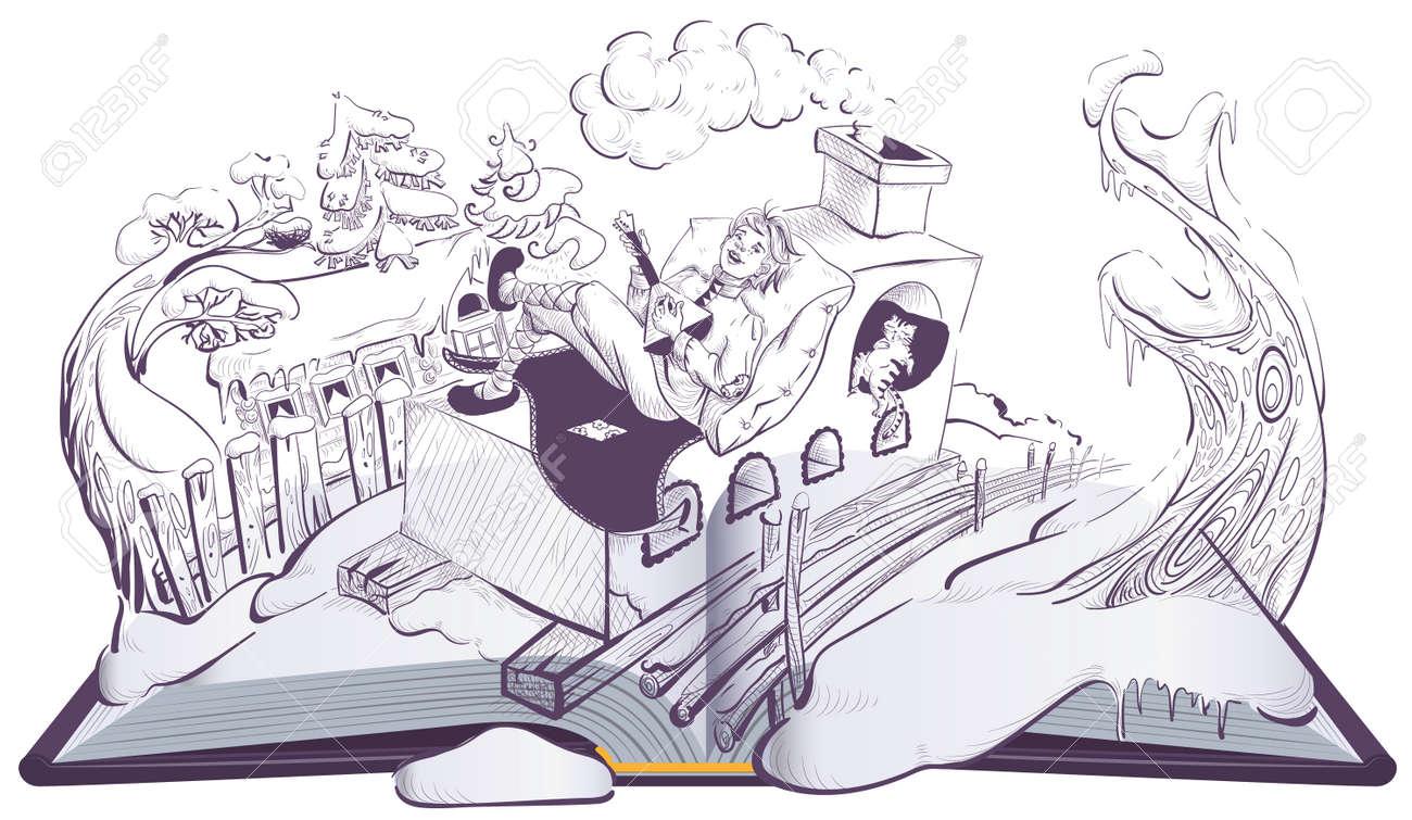 Russian guy Emelya on brick stove oven folk fairy tale. Open book illustration page. Vector cartoon isolated on white - 169559114