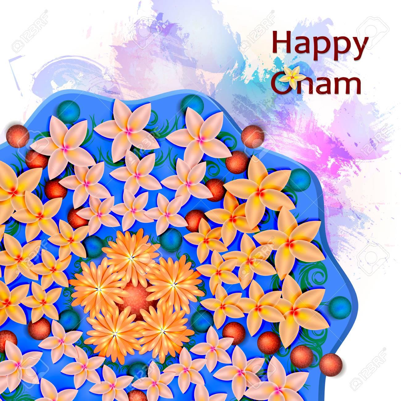 Flower Rangoli Decoration For Onam Vector Illustration Stock