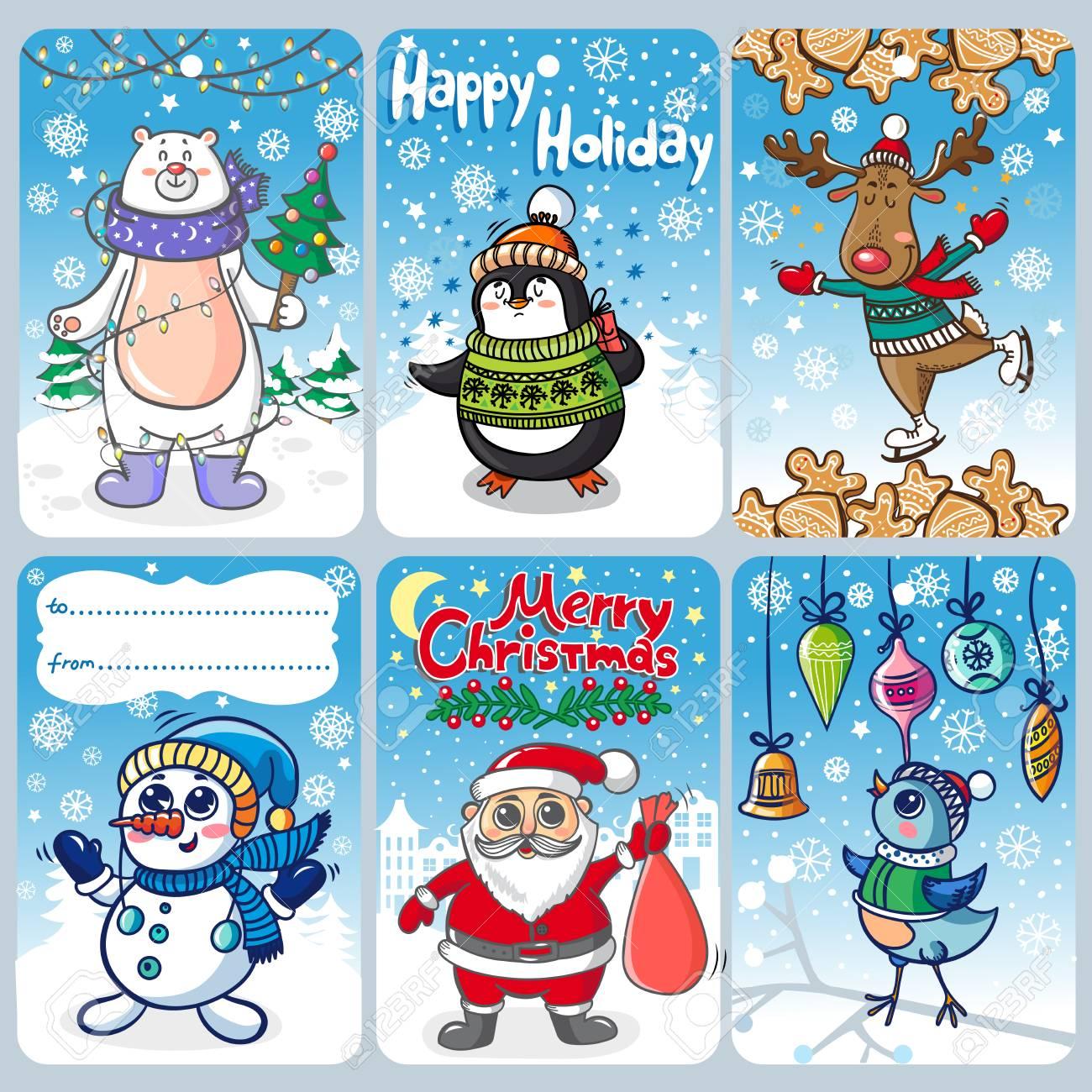 Carte De Noel Droles.Cartes De Noël Avec Des Personnages Drôles