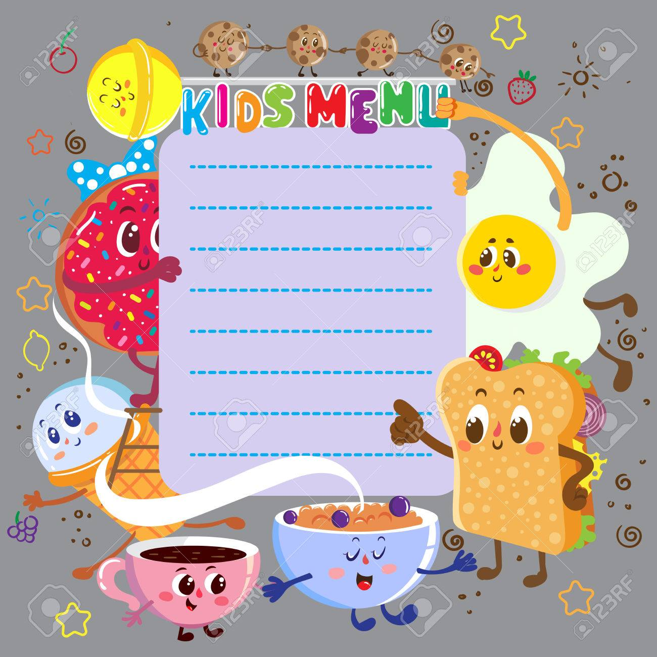 Vector Template. Funny And Cute Colorful Kids Menu With Funny ...