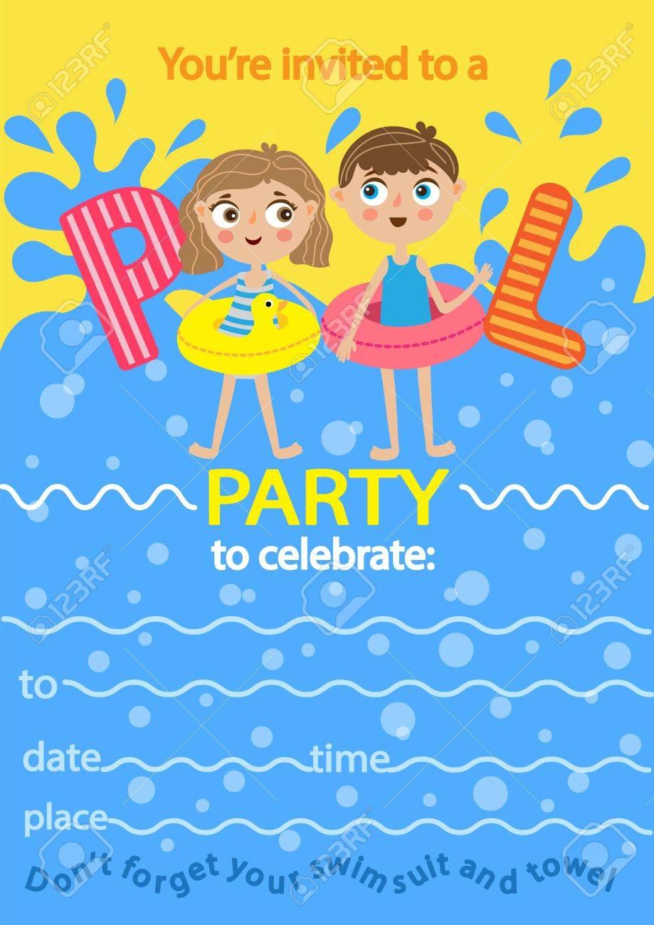 Pool-Party. Einladung Vorlage Karte. Kinder, Die Spaß Im Pool ...